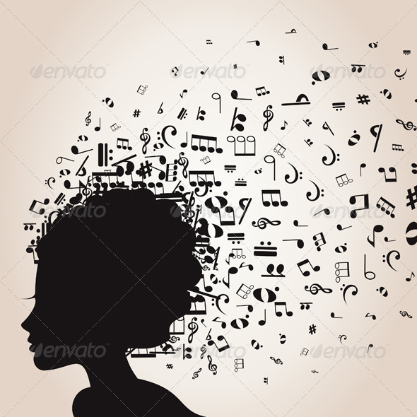 GraphicRiver Girl s Head and Musical Notes 3497232