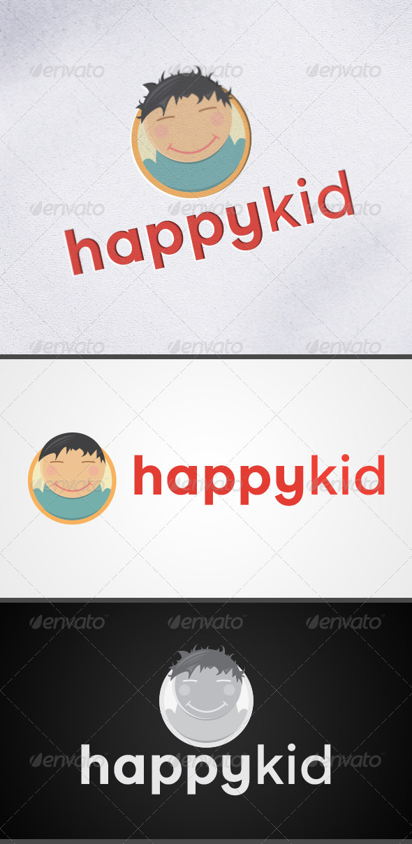 Happy Kid Child Mascot Logo