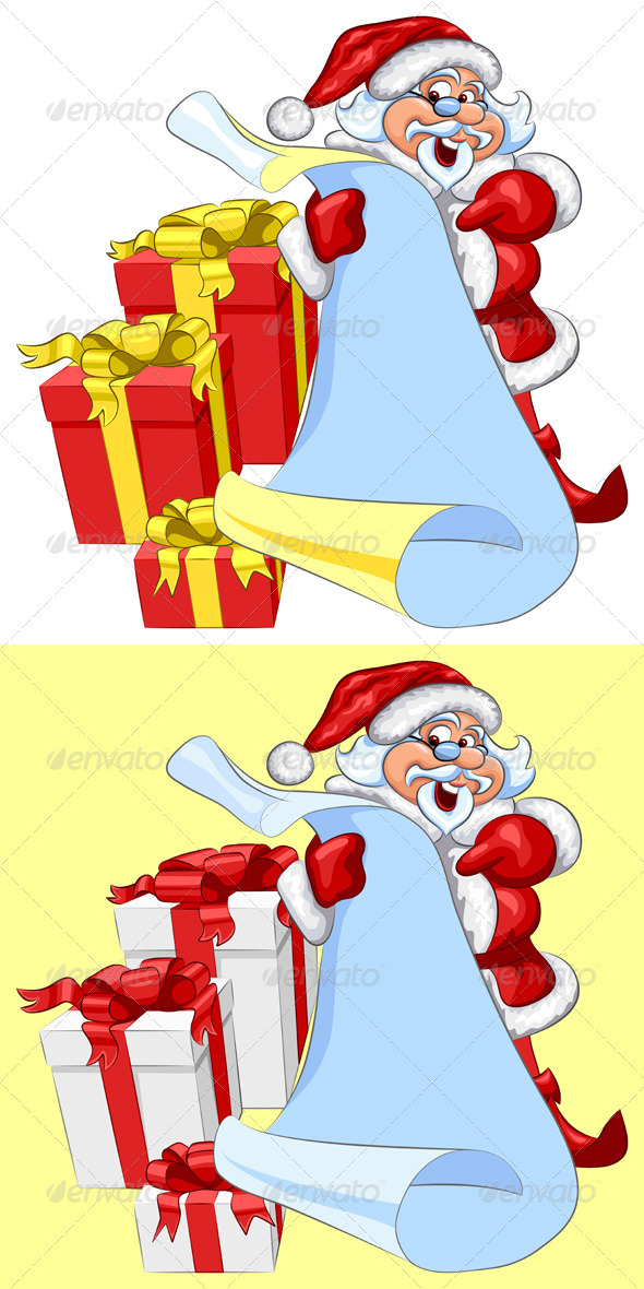 Vector Santa Claus with a scroll and Christmas - Seasons/Holidays Conceptual