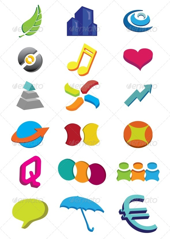 GraphicRiver 3D Abstract Icons 3498470
