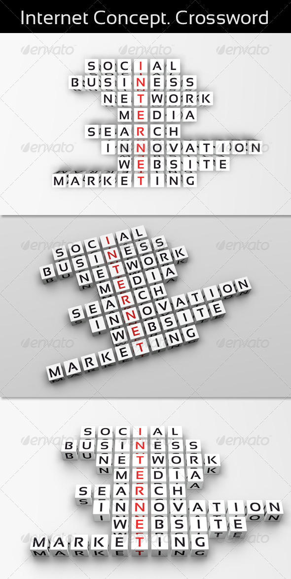Internet Concept. Crossword - Text 3D Renders
