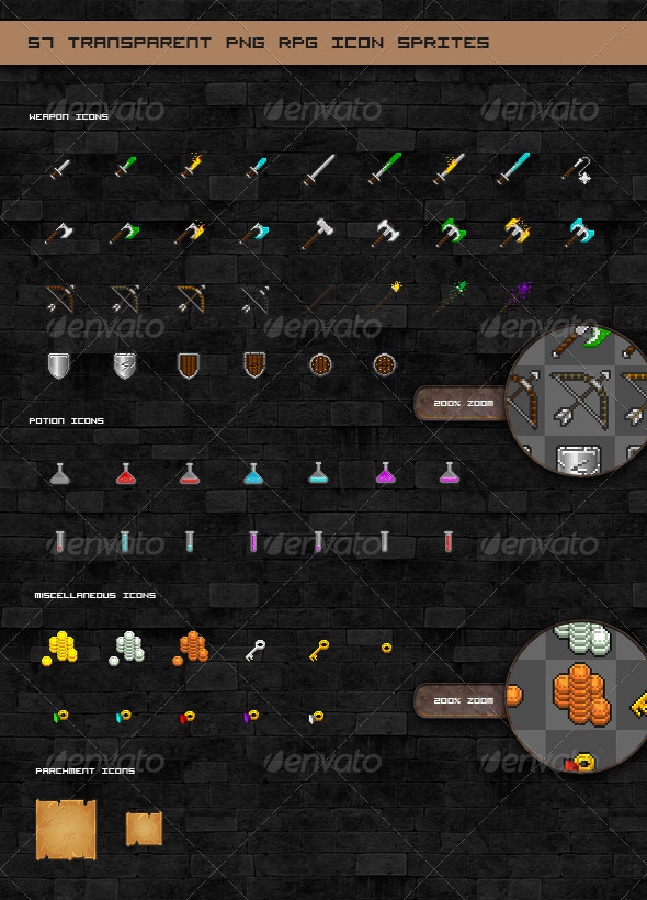 GraphicRiver RPG Game Pixel Icon Sprites 3468809
