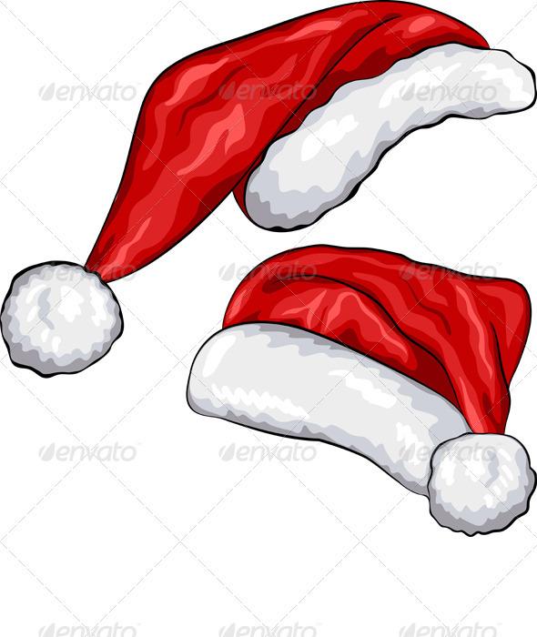 Vector Red Christmas Hats - Christmas Seasons/Holidays
