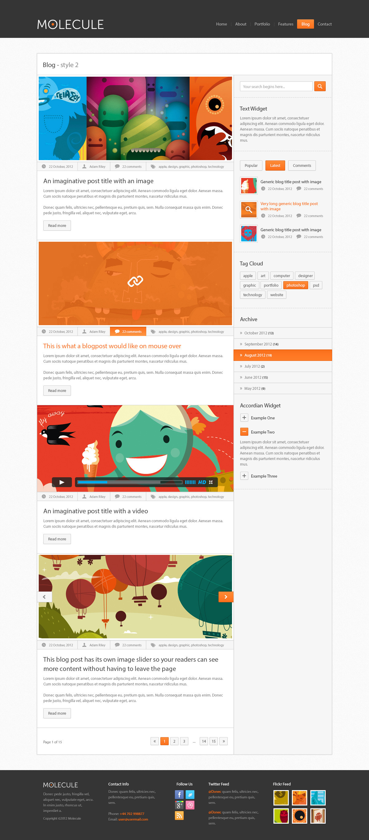Molecule business , Corporate and Blog Html5 Templ