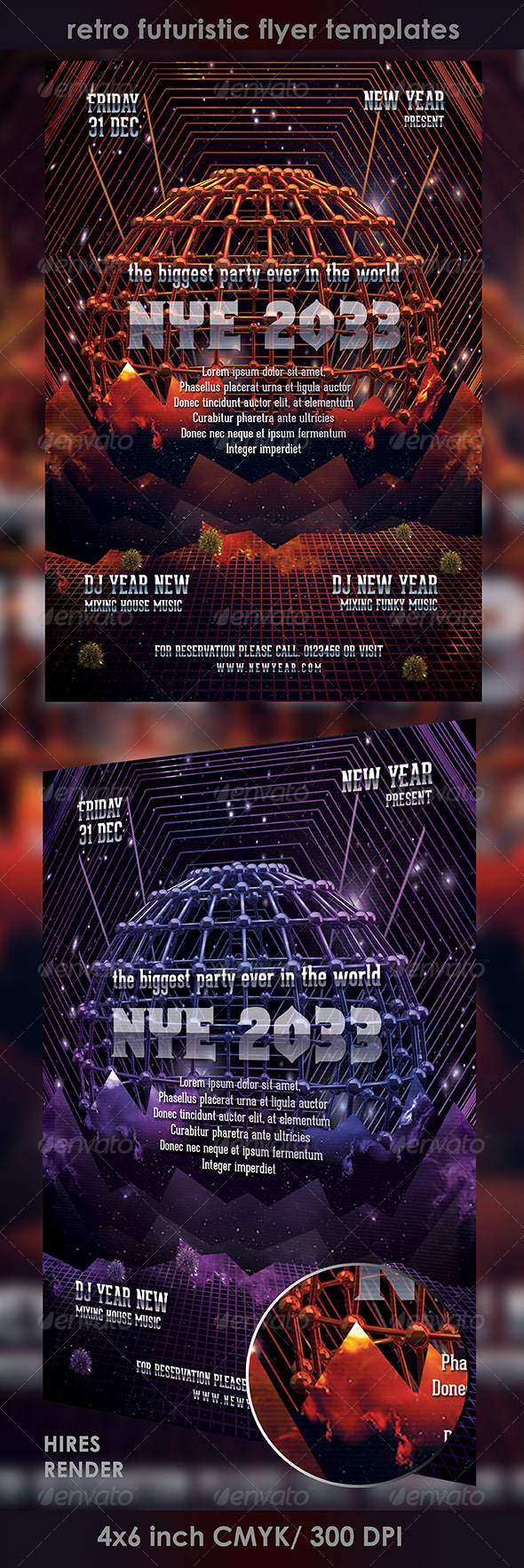 GraphicRiver Nye 2013 Retro Futuristic Flyer Templates 3501928