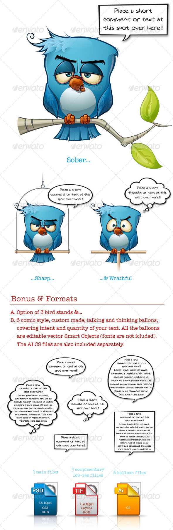 GraphicRiver Blue Bird Sober-Sharp-Wrathful 3501949
