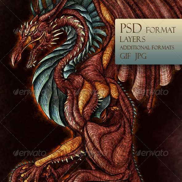 GraphicRiver Red Dragon with Wings 3502110