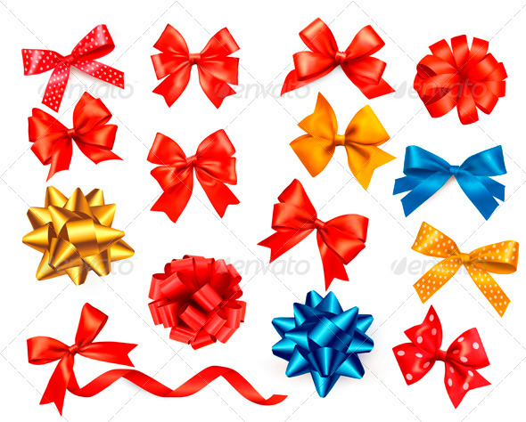 GraphicRiver Big Set of Colour Gift Bows with Ribbons 3502700