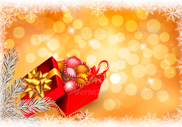 GraphicRiver Christmas Background with Open Gift Box 3502731