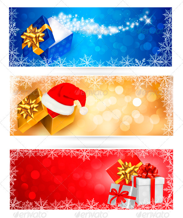 GraphicRiver Three Christmas Banners with Gift Boxes 3502745