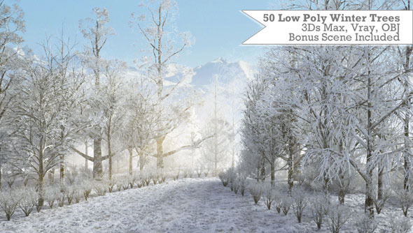 3DOcean 50 Low Poly Winter Trees For 3Ds Max & Vray 3502797