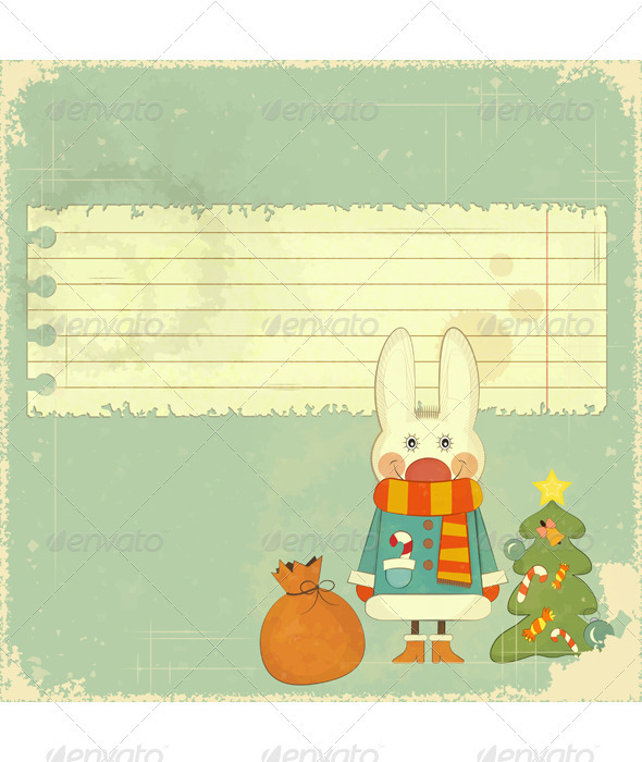 GraphicRiver Christmas Card with White Hare 3503411