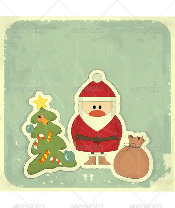 GraphicRiver Christmas Cards with Santa Christmas Tree 3503419