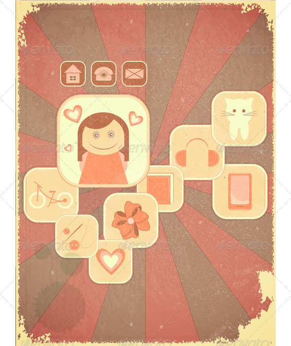 GraphicRiver Retro Placard Girls Hobby 3503423