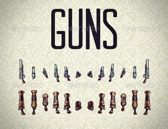 GraphicRiver Pixel Guns Sprites 3504176