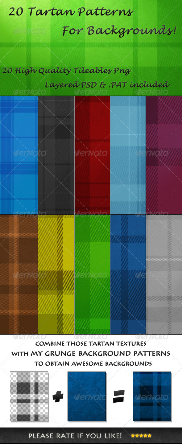 GraphicRiver 20 Tileable Tartan Background Textures & Pattern 3452853