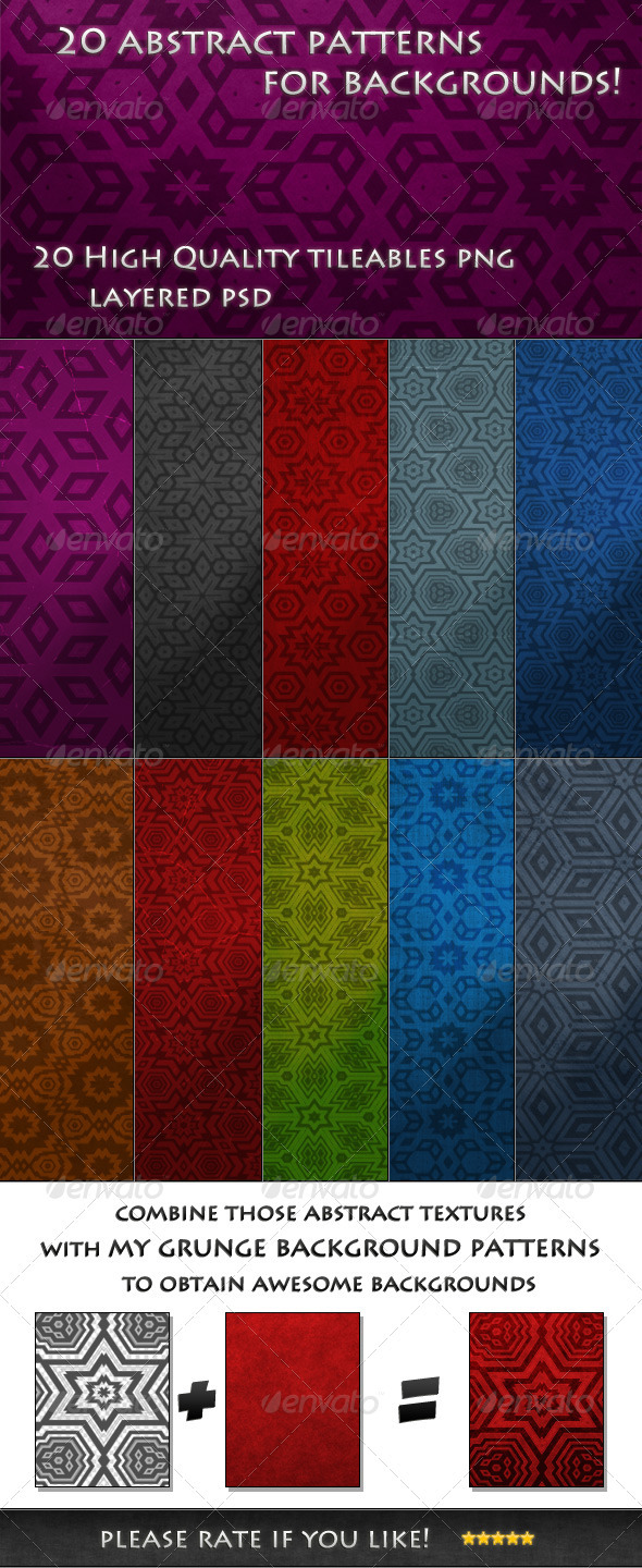 GraphicRiver 20 Tileable Abstract background Textures & Pattern 3434939