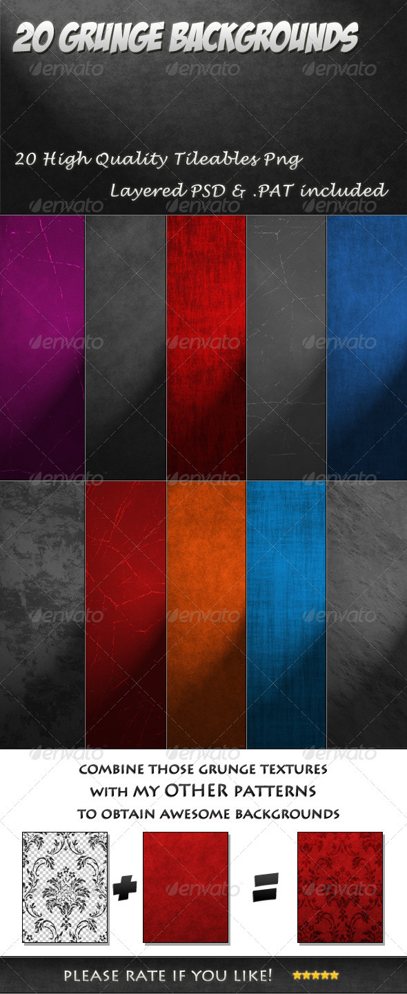 GraphicRiver 20 Tileable Grunge Backgrounds textures & pattern 3418690