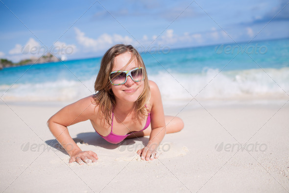 Happy Woman Resting On The Beach - Stock Photo - Images