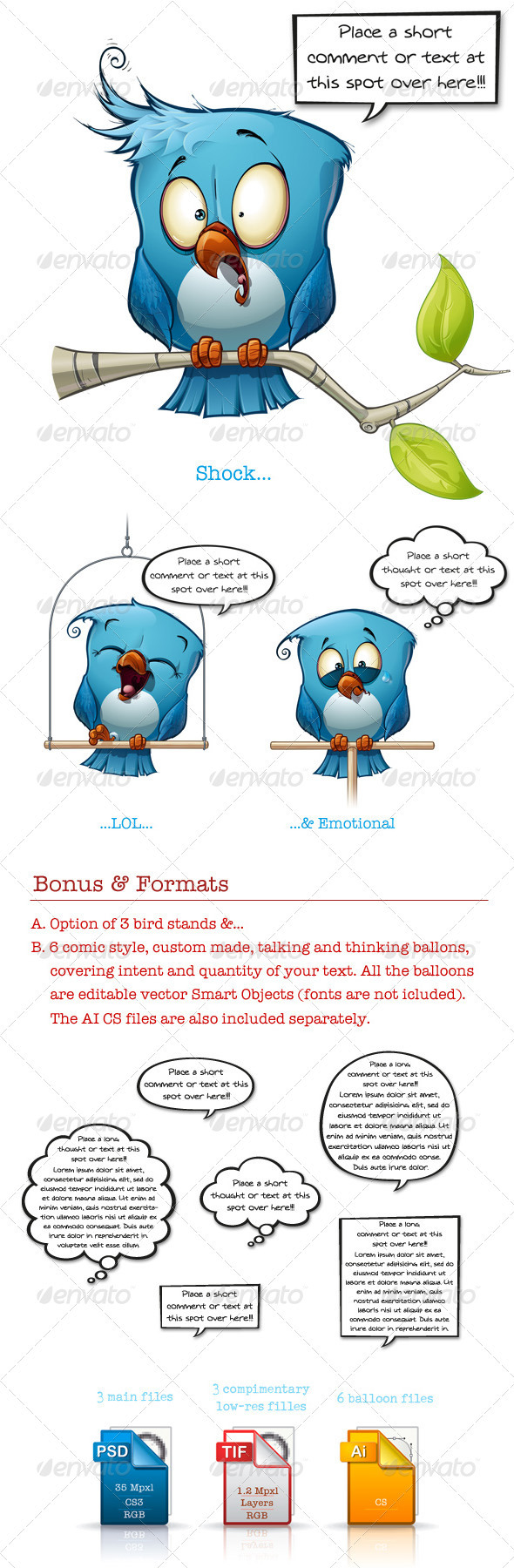 GraphicRiver Blue Bird Shock-LOL-Emotional 3472864
