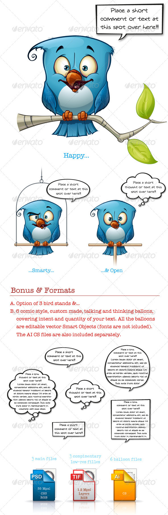 GraphicRiver Blue Bird Happy-Smarty-Open 3472123