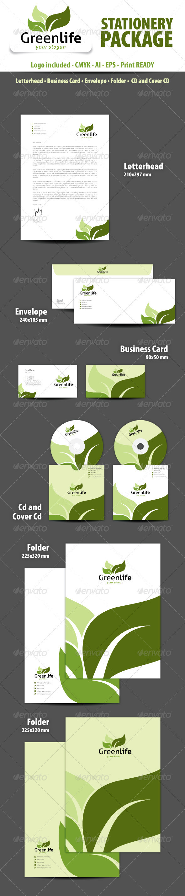 GraphicRiver Greenlife Stationery Package 3506379