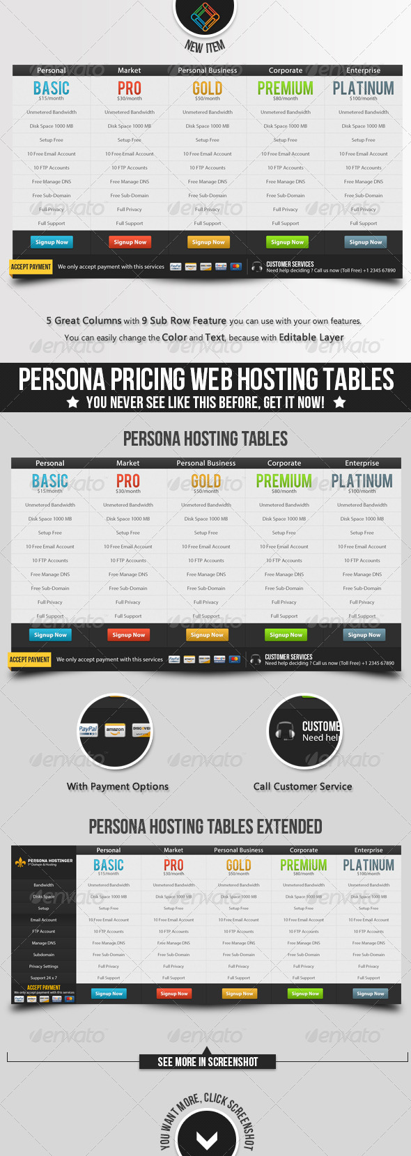 Persona Pricing Web Hosting Tables