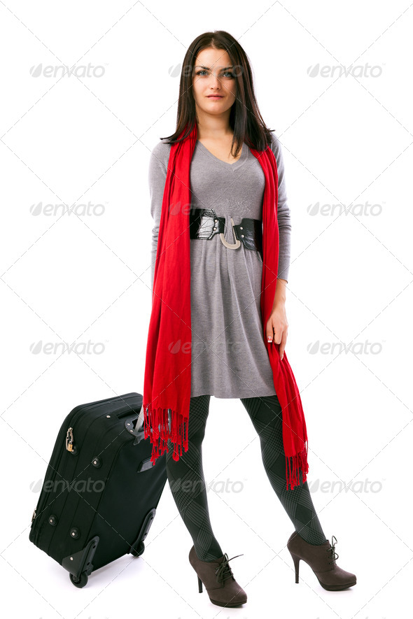 Young traveler woman holding a luggage - Stock Photo - Images
