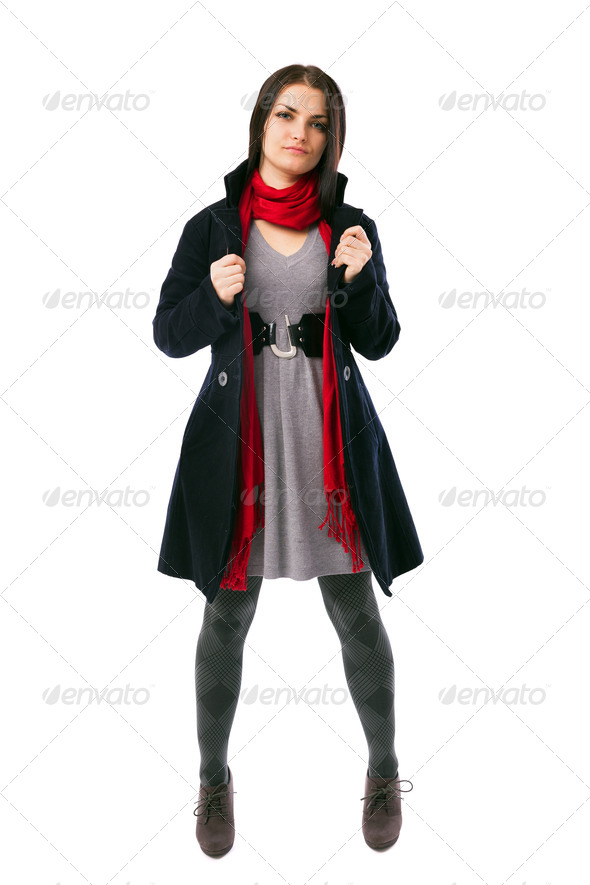 Young woman wearing black coat isolated on white background - Stock Photo - Images