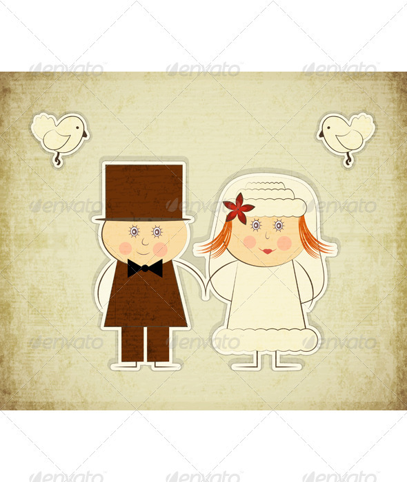 GraphicRiver Vintage Design Wedding Card 3507699