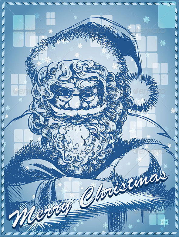 GraphicRiver Santa with Gift in Blue 3354248