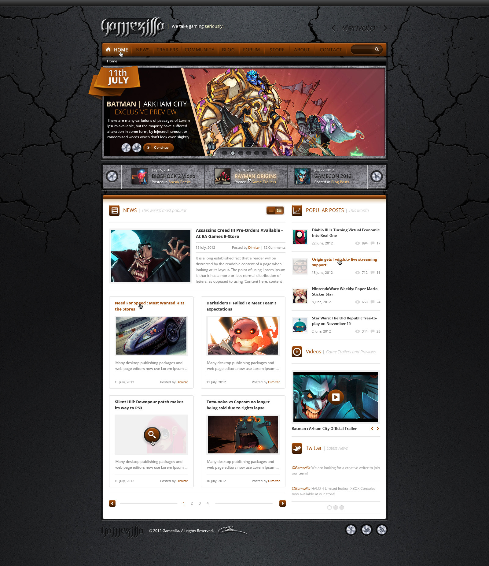 Gamezilla - Video Game News PSD Template