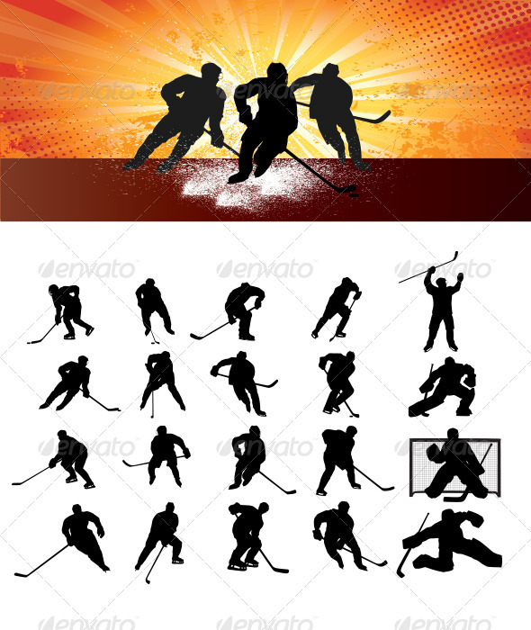 GraphicRiver Ice Hockey Silhouettes 3509526