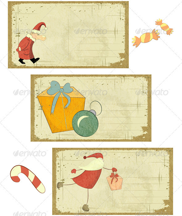 Set of Retro Christmas Cards on White