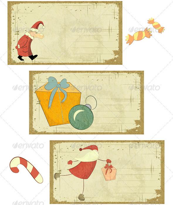 GraphicRiver Set of Retro Christmas Cards on White 3509841
