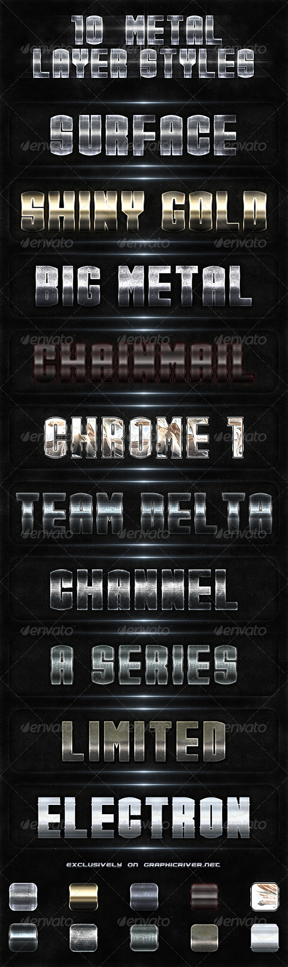 GraphicRiver 10 Metal Layer Styles 3511065