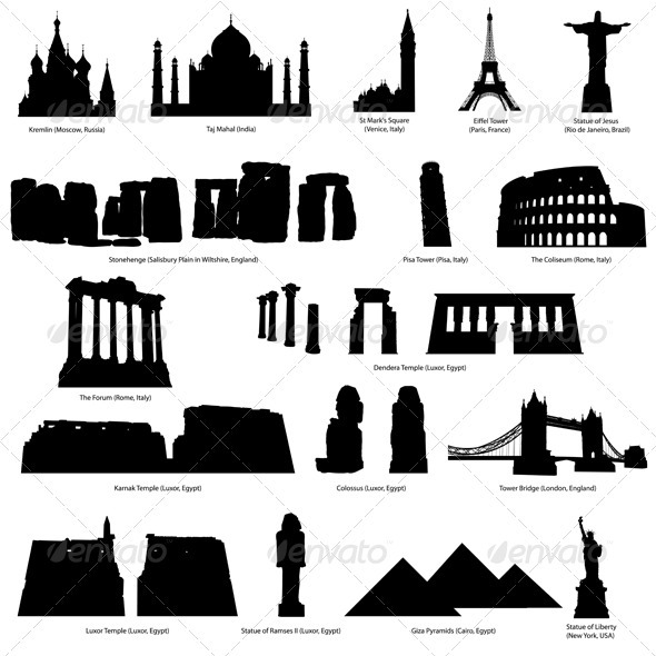 GraphicRiver Landmark Silhouette Set 3511514