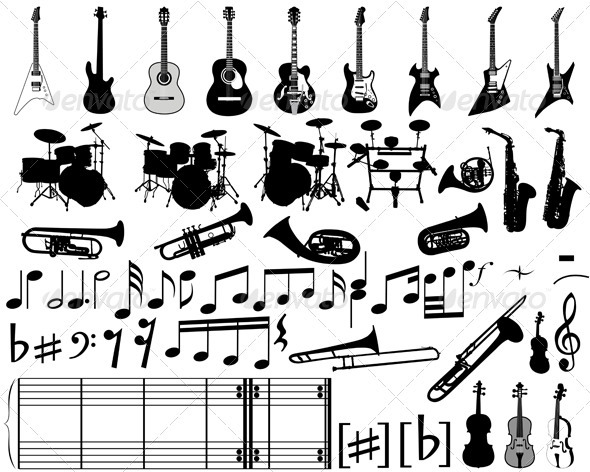 GraphicRiver Musical Elements and Instrument Set 3511517