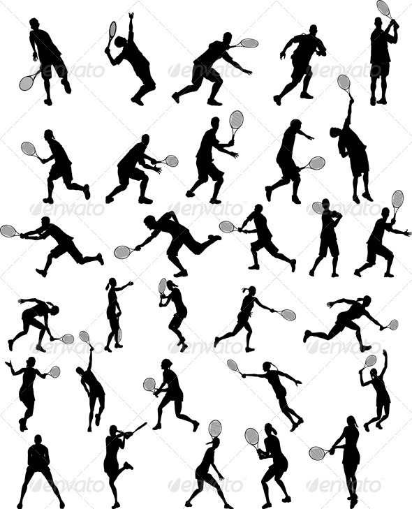 GraphicRiver Set of Tennis Players Silhouettes 3511524