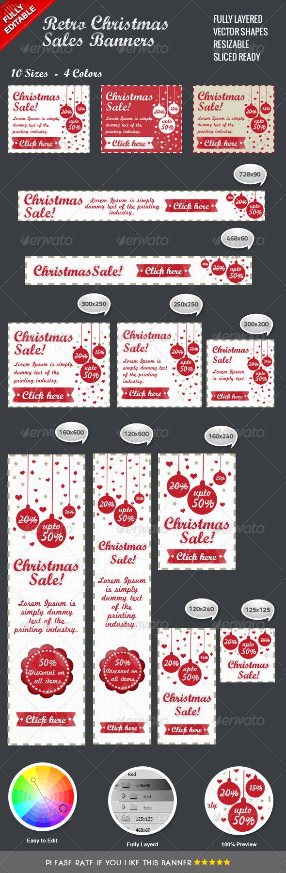 GraphicRiver Retro Christmas Sales Banners 3512374