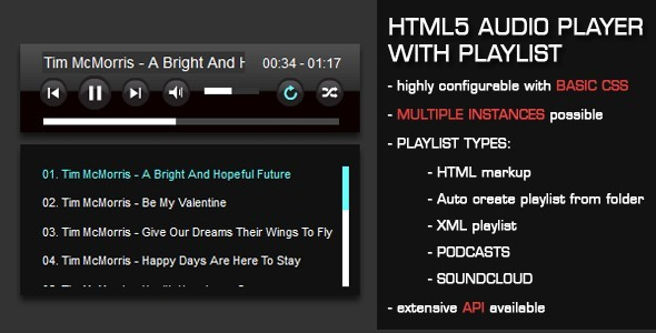 CodeCanyon HTML5 Audio Player with Playlist 1694831