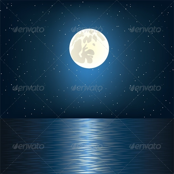 GraphicRiver Moon Star and Ocean 3512829