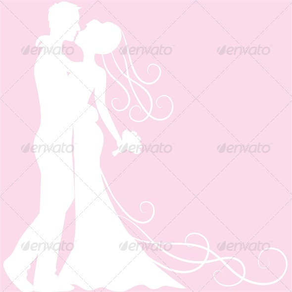 GraphicRiver bride and groom silhouette 3513751