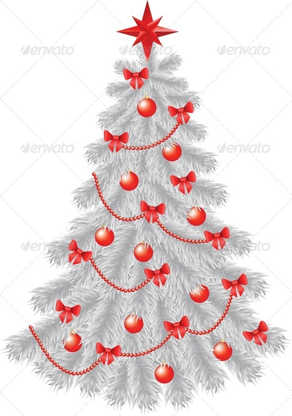 GraphicRiver White Christmas Tree with Red Decoration 3513763