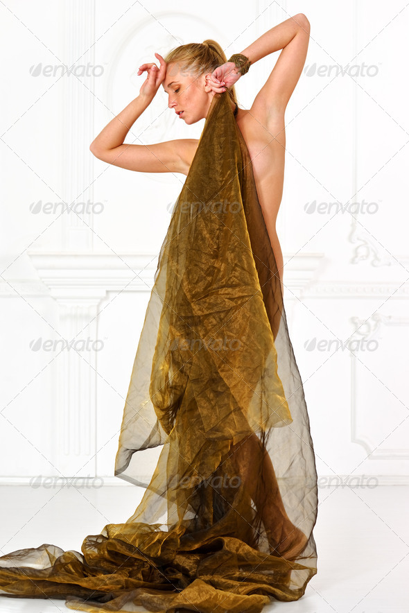 Beautiful naked woman  in drape - Stock Photo - Images