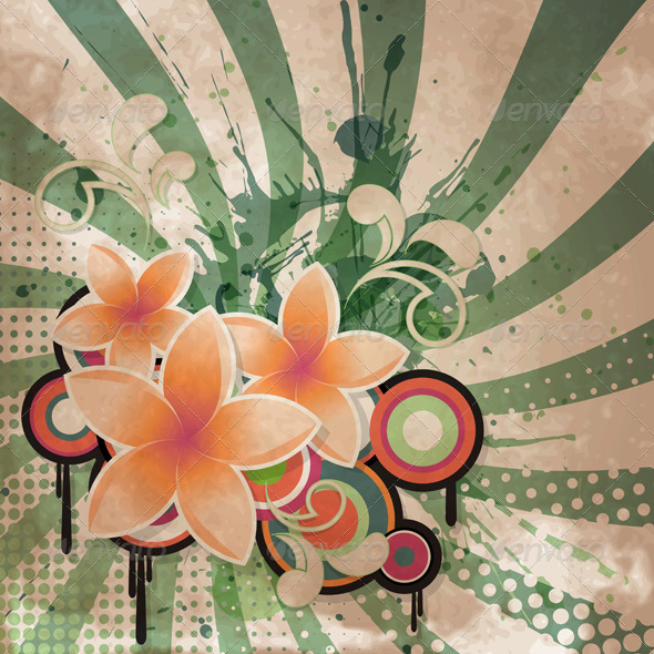 GraphicRiver Retro Flowers Background 3488858