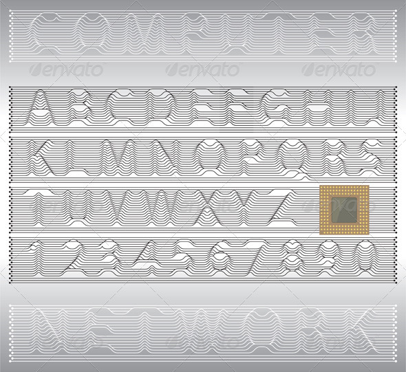 GraphicRiver Techno Alphabet Letters And Numbers 3468323