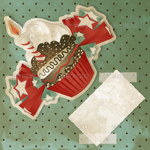 GraphicRiver Vintage Birthday Cupcake 3515475