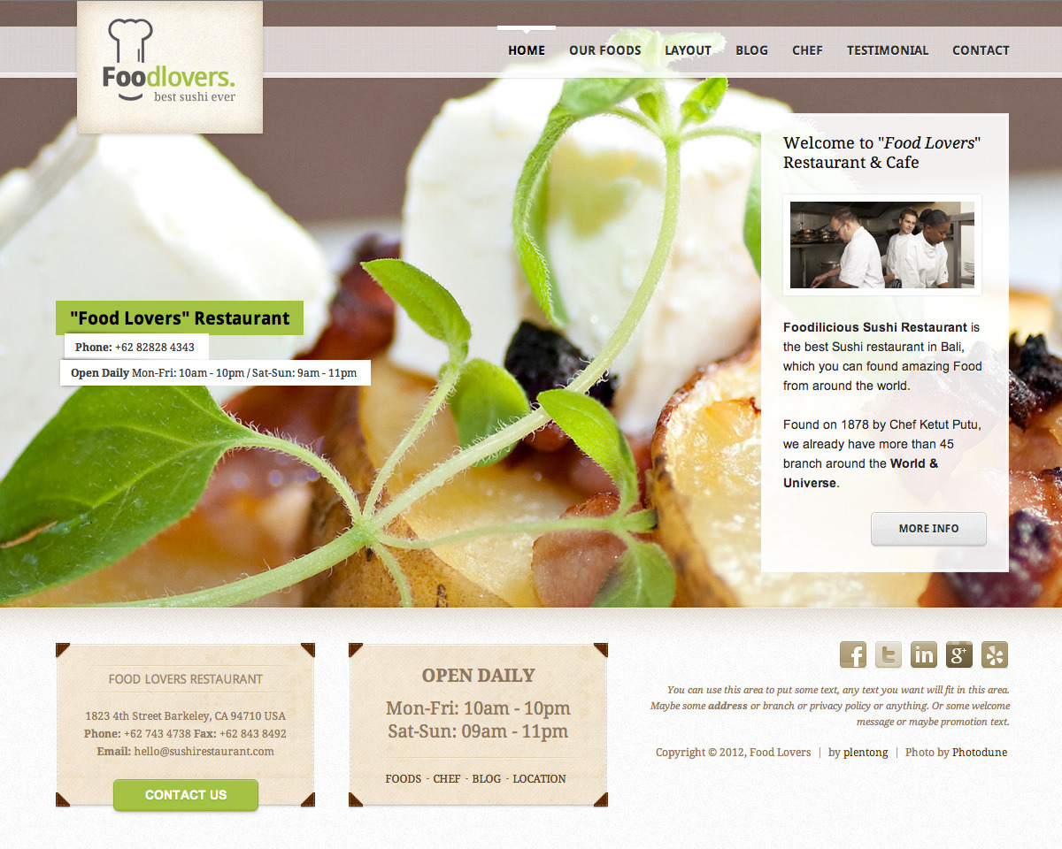 Foodlovers Restaurant Elite - Homepage - Light Color