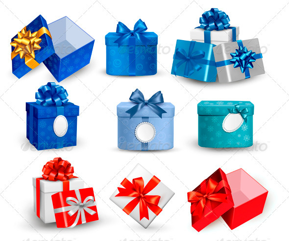 GraphicRiver Set of Colorful Gift Boxes with Bows and Ribbons 3516436